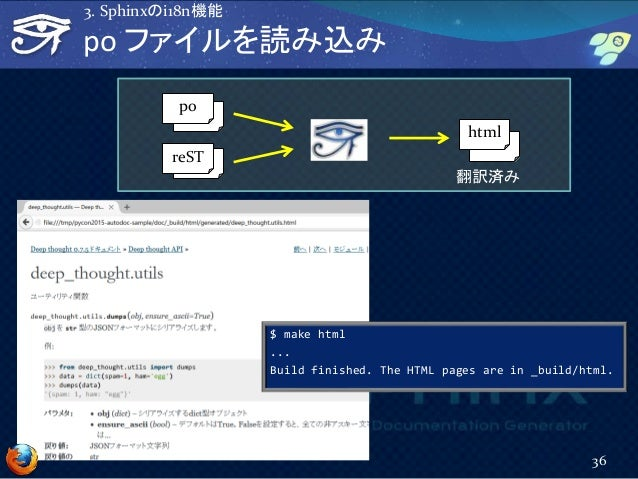 po ファイルを読み込み 36 3. Sphinxのi18n機能 reST html po 翻訳済み $ make html ... Build finished. The HTML pages are in _build/html.