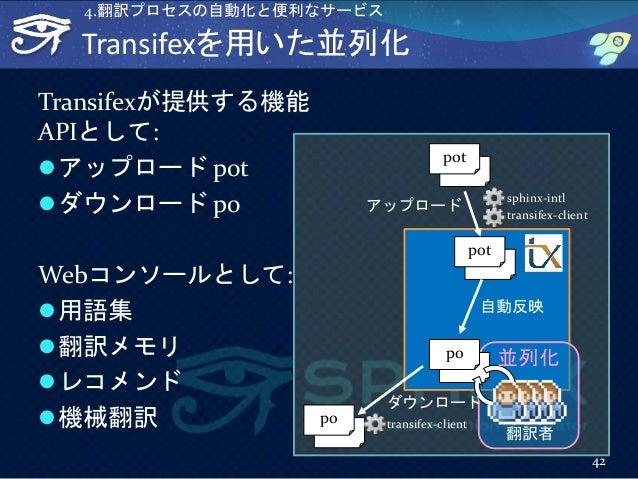 Transifexを用いた並列化 Transifexが提供する機能 APIとして: アップロード pot ダウンロード po Webコンソールとして: 用語集 翻訳メモリ レコメンド 機械翻訳 42 4.翻訳プロセスの自動化と便利な...