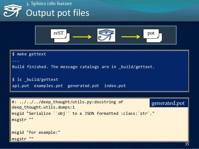Preparing po files to translate doc +- _build/   +- gettext/   +- api.pot   +- examples.pot   +- generated.pot   +- index....