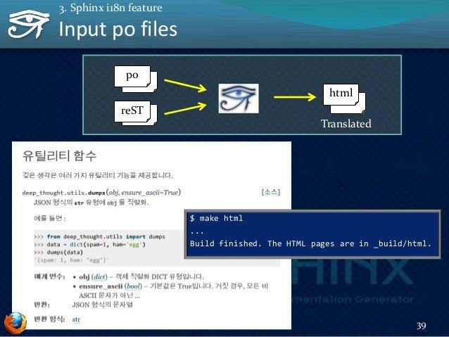 Big picture 40 3. Sphinx i18n feature reST pot html po make gettext sphinx-intl Translator make html Doc Author Translatio...