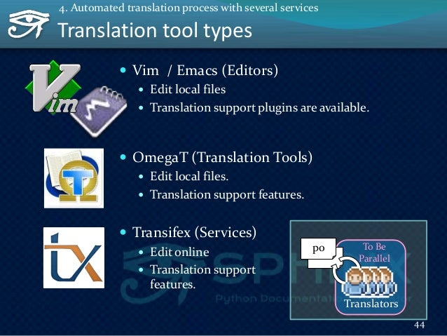 Be Parallel by using Transifex Transifex provides... As API: Upload pot Download po As Web console: Glossary Translati...