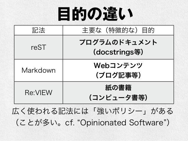 【宣伝】Re:VIEWのご紹介  • 一言で言うと「Sphinxみたいなやつ」  • 青木峰郎氏が『Rubyソースコード完全解説』などの書  籍執筆時、自分用に開発し、後にOSS化されたもの(現  在は武藤健志氏がメインのメンテナ)  • 知名...