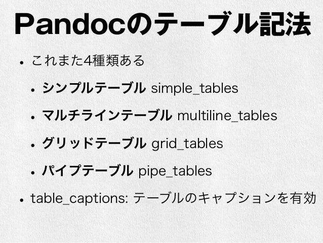 Pandocオプション例  • 要するに記法の有無・解釈の違いに対応するた  めにオプションだらけになる  • Markdown文書を正しく解釈してもらうにはオ  プションも交換する必要がある  • つらい世界…