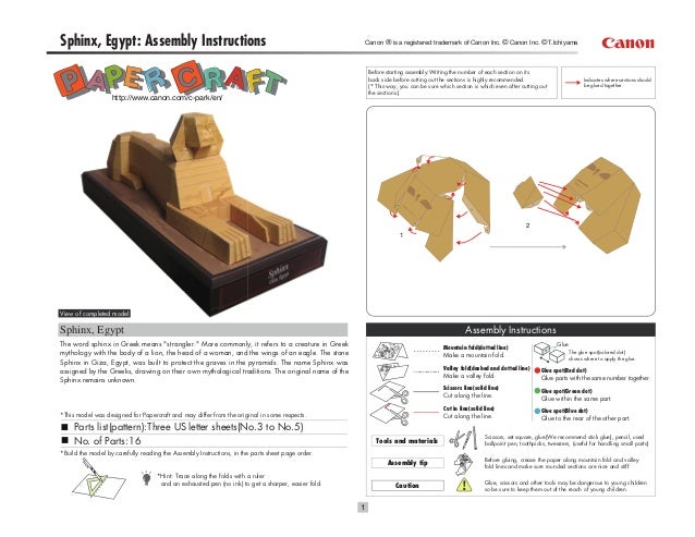 Sphinx, Egypt: Assembly Instructions                                                                Canon ® is a registere...