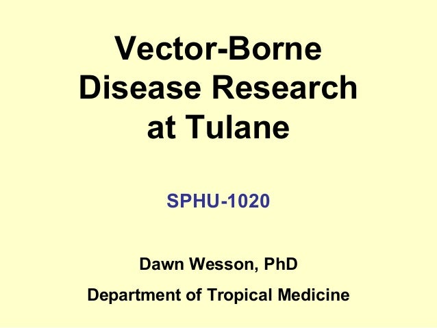 Vector-Borne Disease Research at Tulane SPHU-1020 Dawn Wesson, PhD Department of Tropical Medicine