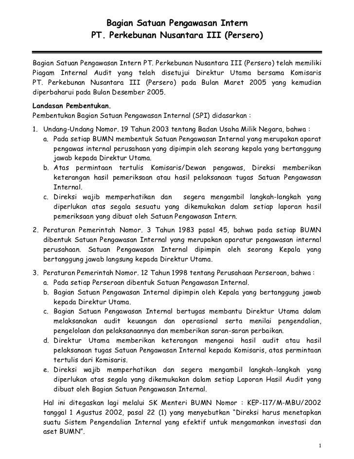 Bagian Satuan Pengawasan Intern                 PT. Perkebunan Nusantara III (Persero)Bagian Satuan Pengawasan Intern PT. ...