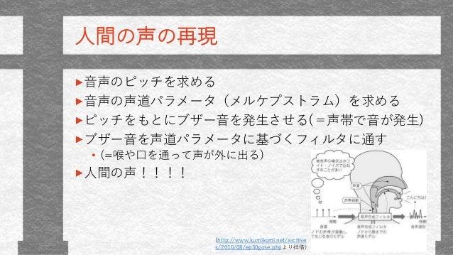 人間の声の再現 音声のピッチを求める 音声の声道パラメータ(メルケプストラム)を求める ピッチをもとにブザー音を発生させる(=声帯で音が発生) ブザー音を声道パラメータに基づくフィルタに通す • (=喉や口を通って声が外に出る) 人間の声!!!...