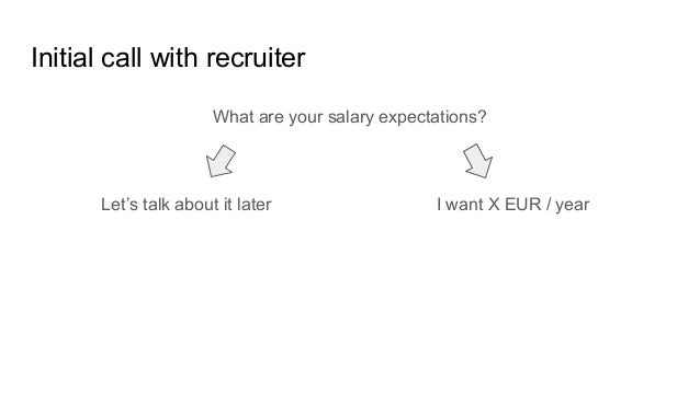 Initial call with recruiter What are your salary expectations? I want X EUR / yearLet's talk about it later