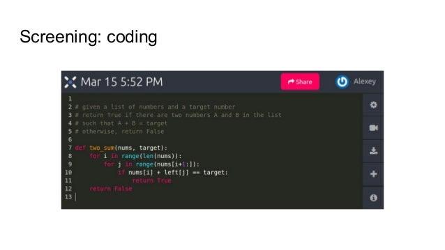 Screening: coding