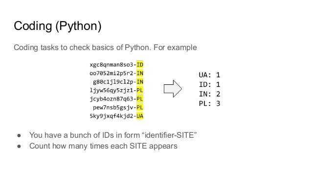 """Coding (Python) Coding tasks to check basics of Python. For example ● You have a bunch of IDs in form """"identifier-SITE"""" ● ..."""