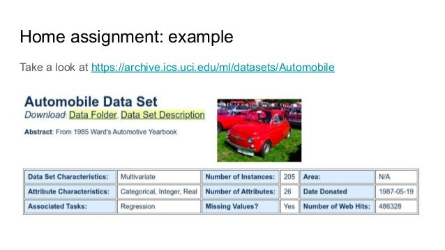 Home assignment: example Take a look at https://archive.ics.uci.edu/ml/datasets/Automobile