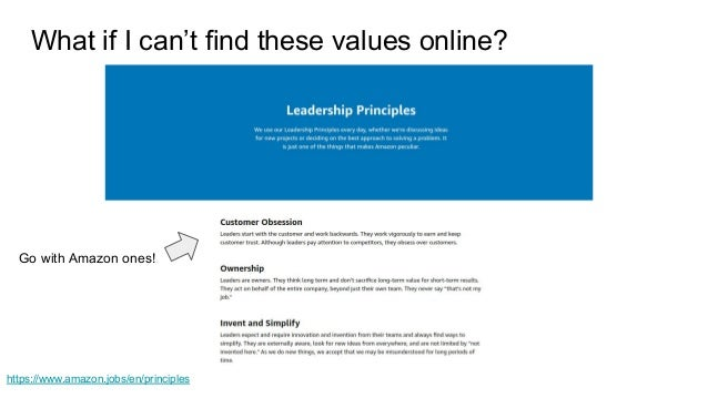 https://www.amazon.jobs/en/principles What if I can't find these values online? Go with Amazon ones!