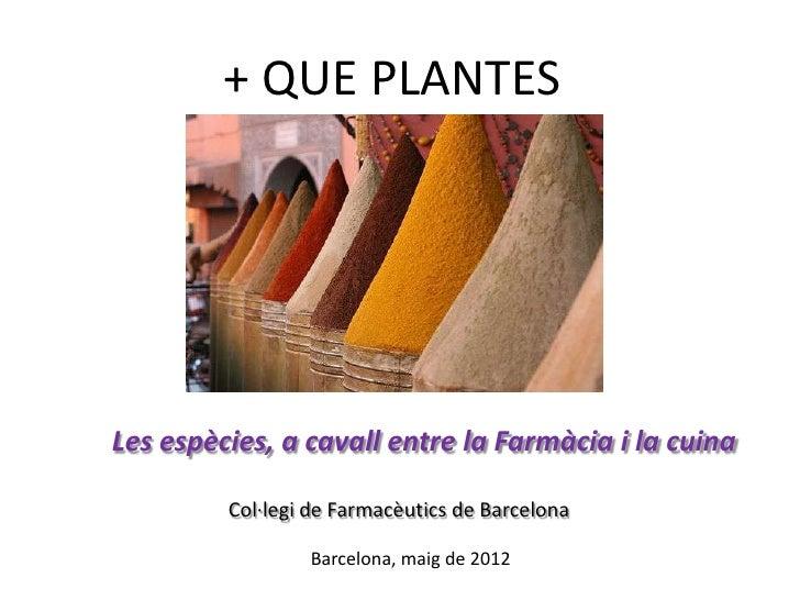 + QUE PLANTESLes espècies, a cavall entre la Farmàcia i la cuina         Col·legi de Farmacèutics de Barcelona            ...
