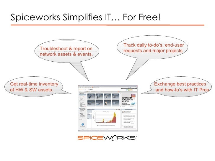"""Spiceworks Simplifies IT… For Free! """" Is it all working?""""  """" How do I keep track of everything?""""  """" What do I have?""""  """" Wh..."""