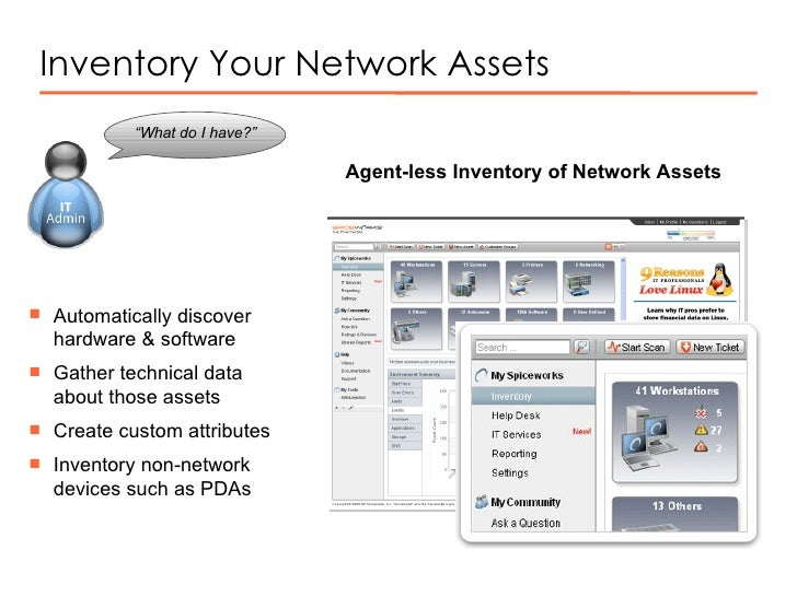 """Inventory Your Network Assets """" What do I have?""""  Agent-less Inventory of Network Assets <ul><li>Automatically discover ha..."""