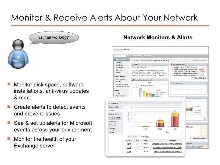Monitor & Receive Alerts About Your Network Network Monitors & Alerts <ul><li>Monitor disk space, software installations, ...