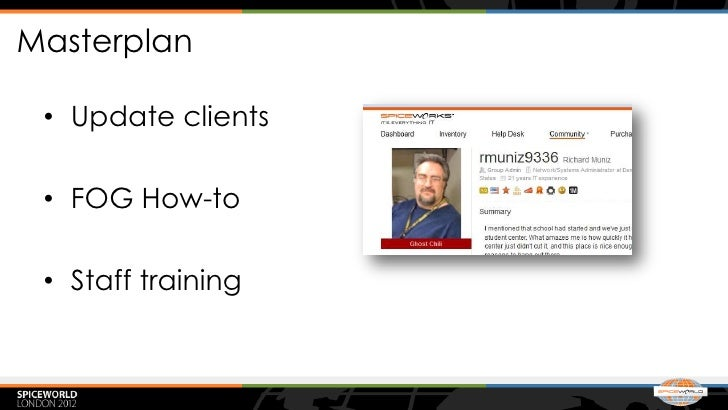 Masterplan • Update clients • FOG How-to • Staff training