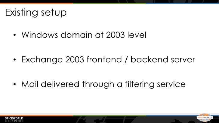 Existing setup • Windows domain at 2003 level • Exchange 2003 frontend / backend server • Mail delivered through a filteri...