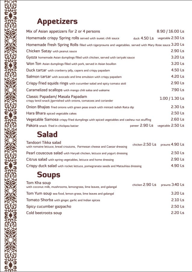 Spicy affair menu en