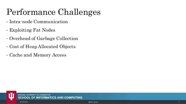 Performance Challenges • Intra-node Communication • Exploiting Fat Nodes • Overhead of Garbage Collection • Cost of Heap A...