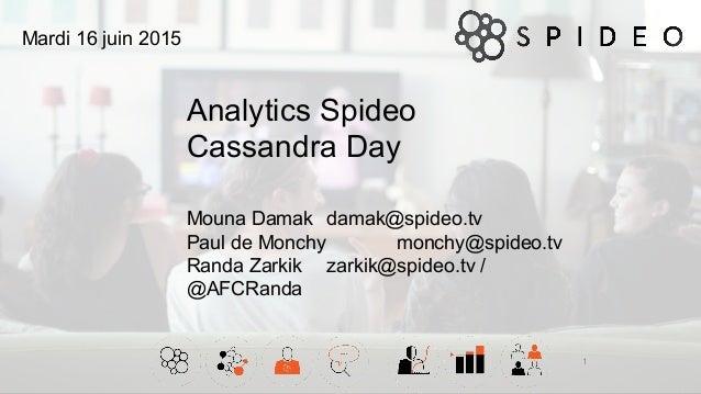 Analytics Spideo Cassandra Day 1 Mouna Damak damak@spideo.tv Paul de Monchy monchy@spideo.tv Randa Zarkik zarkik@spideo.tv...