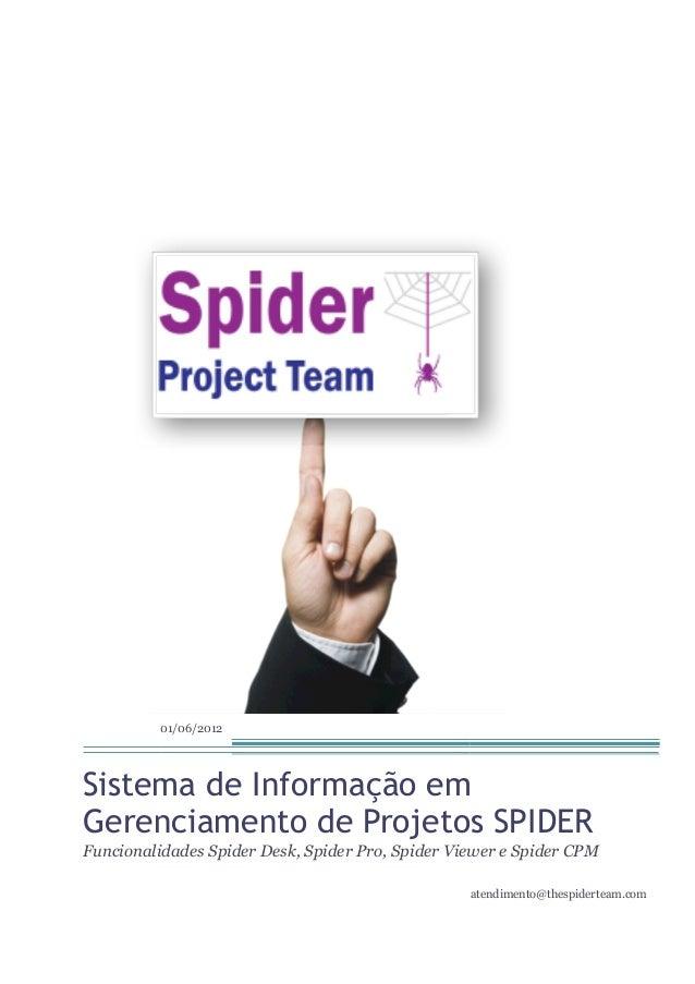 01/06/2012Sistema de Informação emGerenciamento de Projetos SPIDERFuncionalidades Spider Desk, Spider Pro, Spider Viewer e...