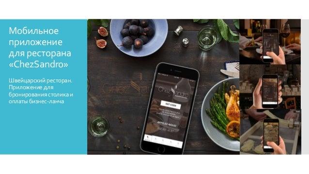Мобильное приложение для ресторана «ChezSandro» Швейцарскийресторан. Приложениедля бронированиястоликаи оплатыбизнес-ланча