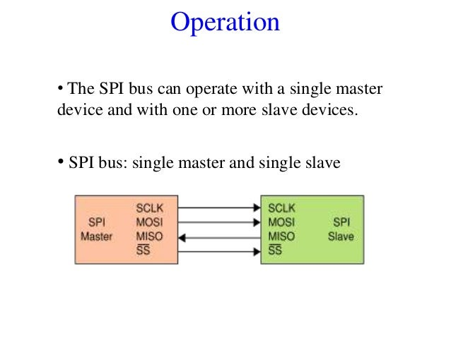 Operation • The SPI bus can operate with a single master device and with one or more slave devices. • SPI bus: single mast...