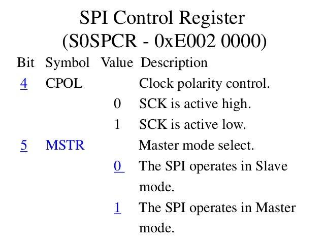 SPI Control Register (S0SPCR - 0xE002 0000) Bit Symbol Value Description 4 CPOL Clock polarity control. 0 SCK is active hi...