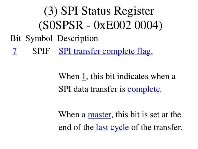 (3) SPI Status Register (S0SPSR - 0xE002 0004) Bit Symbol Description 7 SPIF SPI transfer complete flag. When 1, this bit ...
