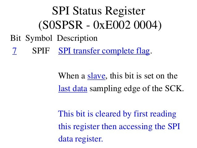 SPI Status Register (S0SPSR - 0xE002 0004) Bit Symbol Description 7 SPIF SPI transfer complete flag. When a slave, this bi...