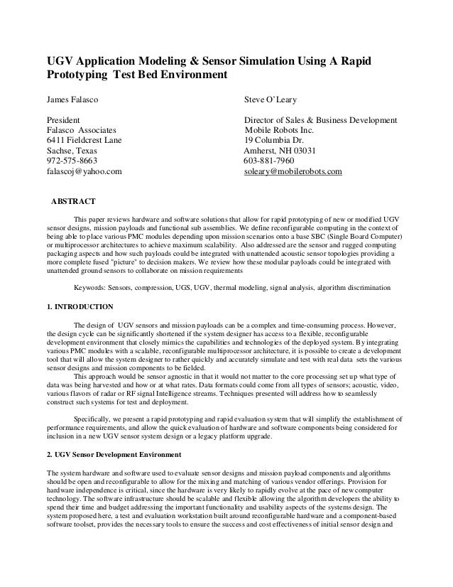 UGV Application Modeling & Sensor Simulation Using A Rapid Prototyping Test Bed Environment James Falasco Steve O'Leary Pr...