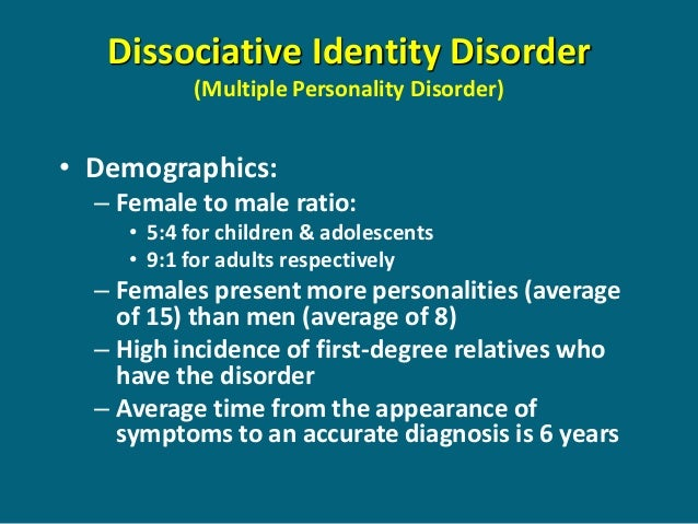 a description of dissociative identity disorder and its diagnoses and treatment Review dissociative amnesia course, and treatment of dissociative amnesia and its variant dissociative identity disorder.