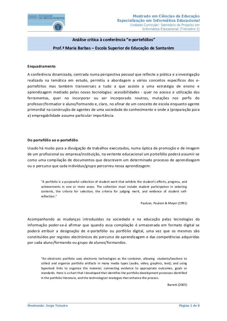 Mestrado em Ciências da Educação                                                               Especialização em Informáti...