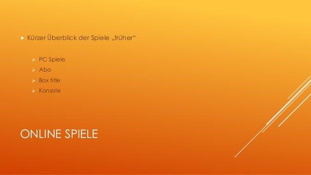 """ Kürzer Überblick der Spiele """"früher""""   PC Spiele   Abo   Box title   Konsole  ONLINE SPIELE"""