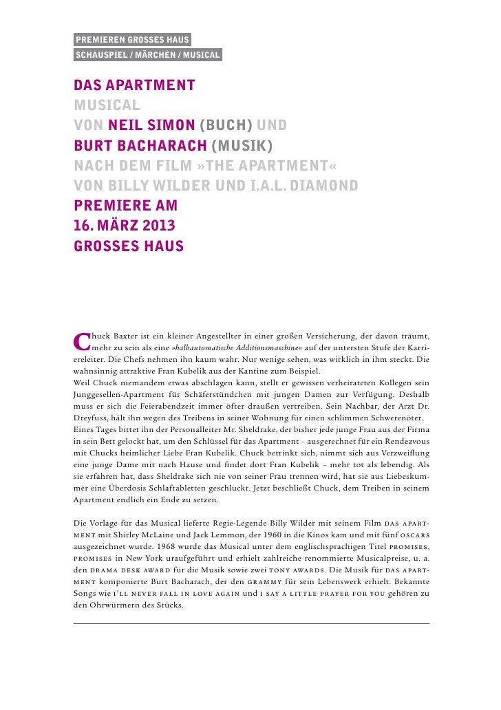 Premieren Grosses HausSchauspiel / Märchen / musicaldas apartmentMusicalvon Neil Simon (Buch) undBurt Bacharach (Musik)Nac...