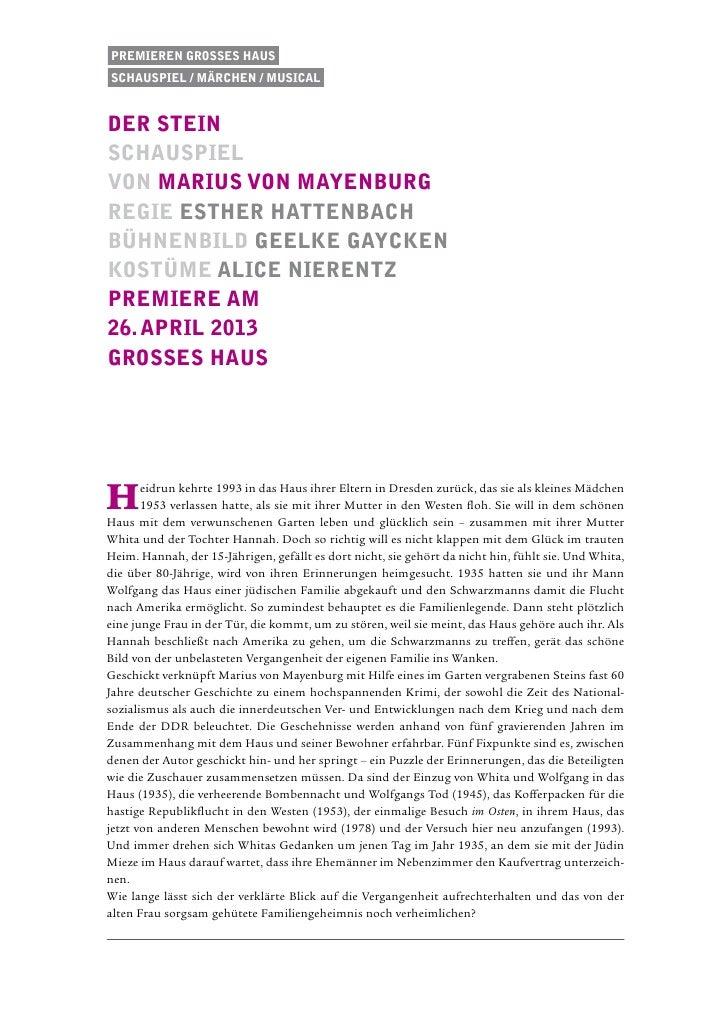 Premieren Grosses HausSchauspiel / Märchen / musicalder steinschauspielvon Marius von MayenburgRegie esther hattenbachbühn...
