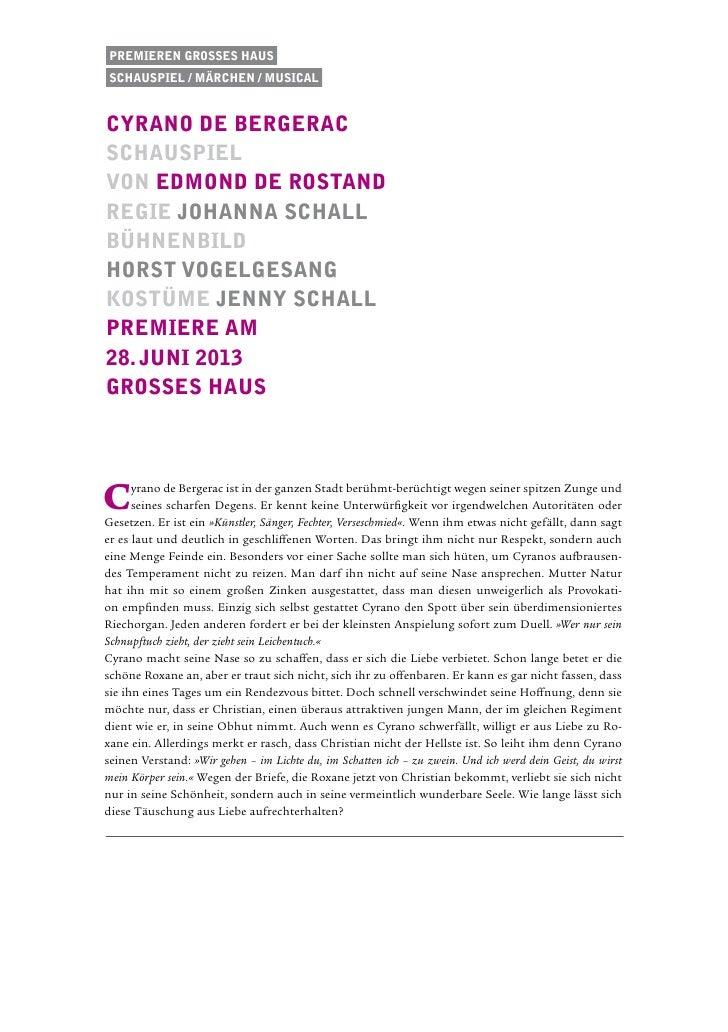 Premieren Grosses HausSchauspiel / Märchen / musicalcyrano de bergeracschauspielvon Edmond de RostandRegie johanna schallb...