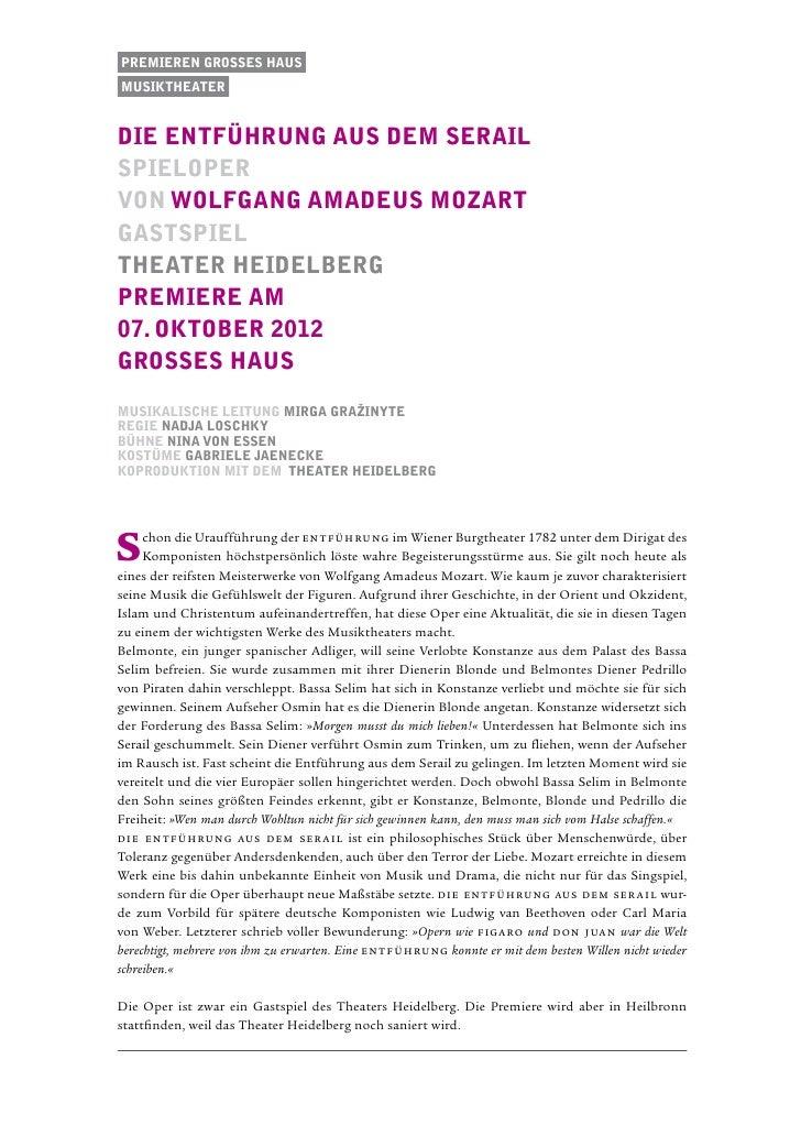 Premieren Grosses Hausmusiktheaterdie entführung aus dem serailspielopervon Wolfgang Amadeus Mozartgastspieltheater heidel...
