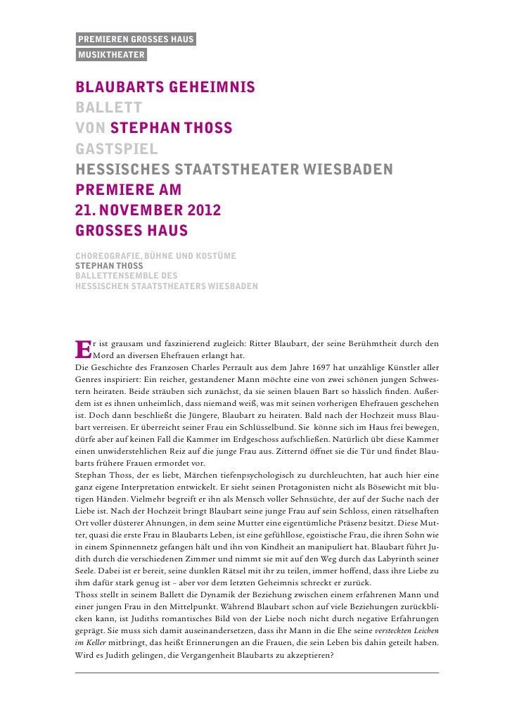 Premieren Grosses Hausmusiktheaterblaubarts geheimnisballettvon stephan thossgastspielhessisches staatstheater wiesbadenPr...