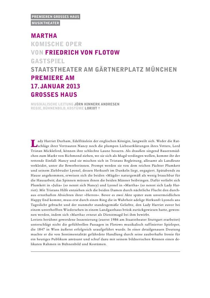 Premieren Grosses Hausmusiktheatermarthakomische opervon Friedrich von Flotowgastspielstaatstheater am gärtnerplatz münche...