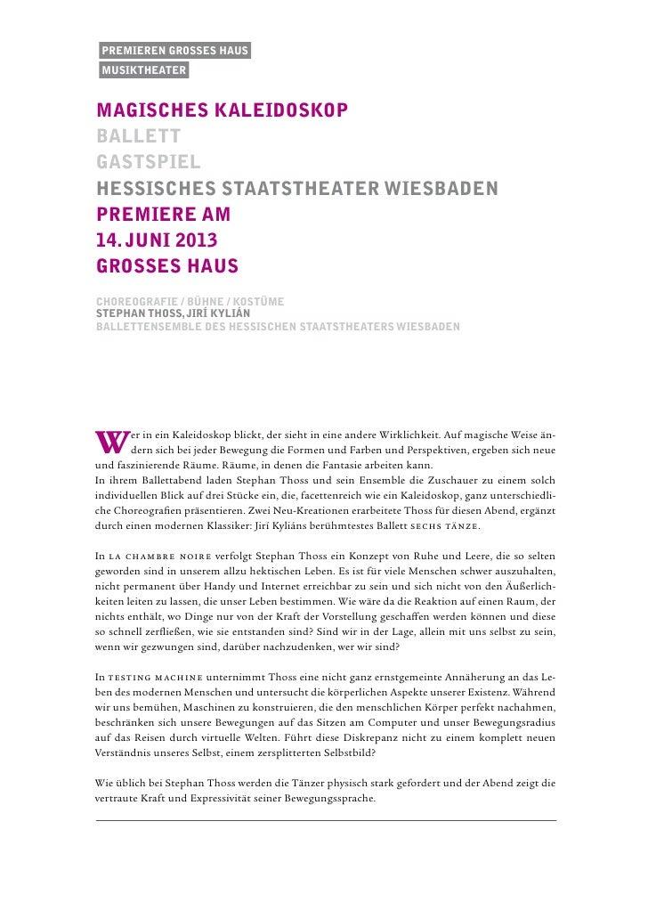 Premieren Grosses Haus musiktheatermagisches kaleidoskopballettgastspielhessisches staatstheater wiesbadenPremiere am14. j...