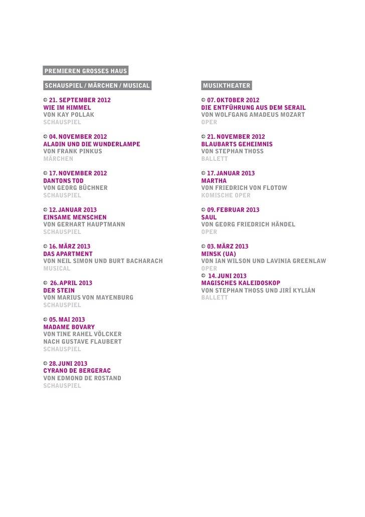 Premieren Grosses HausSchauspiel / Märchen / musical      musiktheater  21. september 2012                  07. oktober 20...