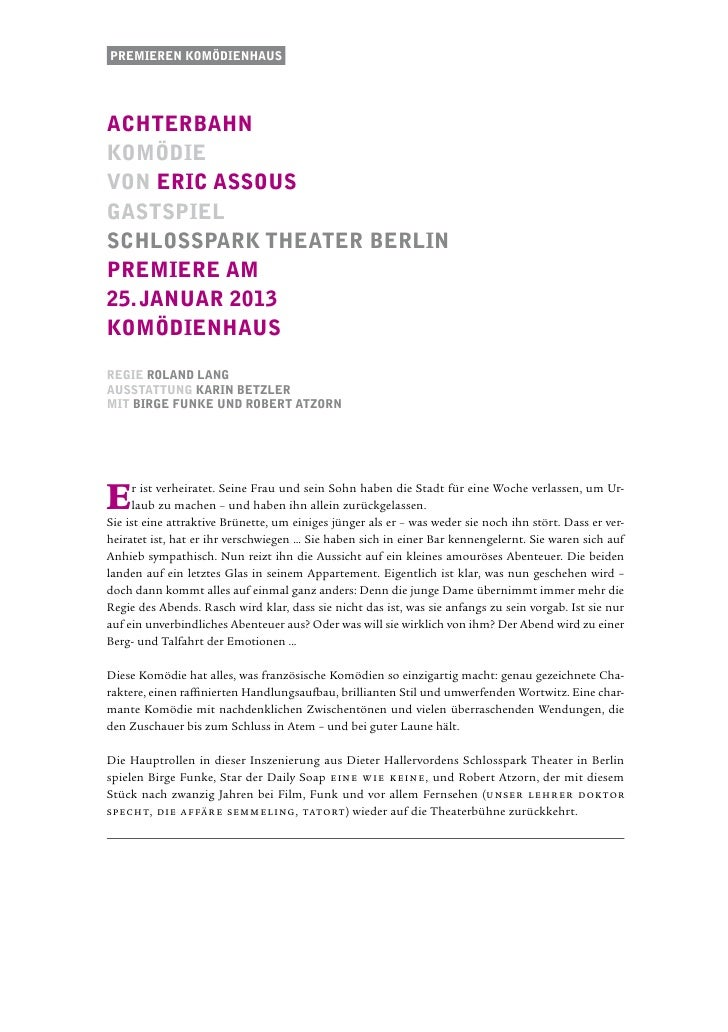 Premieren komödienhausachterbahnkomödievon eric assousgastspielschlosspark theater berlinPremiere am25. januar 2013komÖdie...