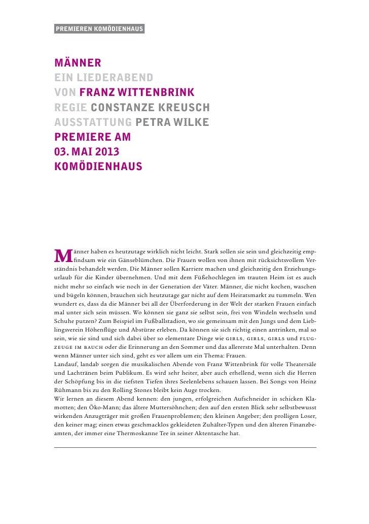 Premieren komödienhausmännerein liederabendvon Franz WittenbrinkRegie constanze kreuschausstattung Petra WilkePremiere am0...