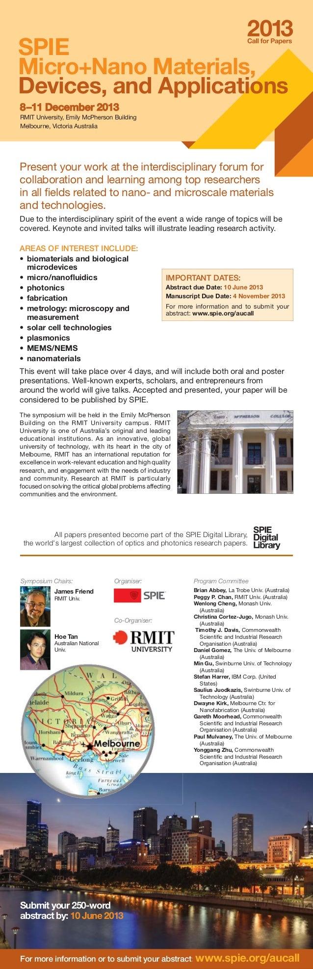 8–11 December8–11 December 20132013 RMIT University, Emily McPherson Building Melbourne, Victoria Australia Submit your 25...