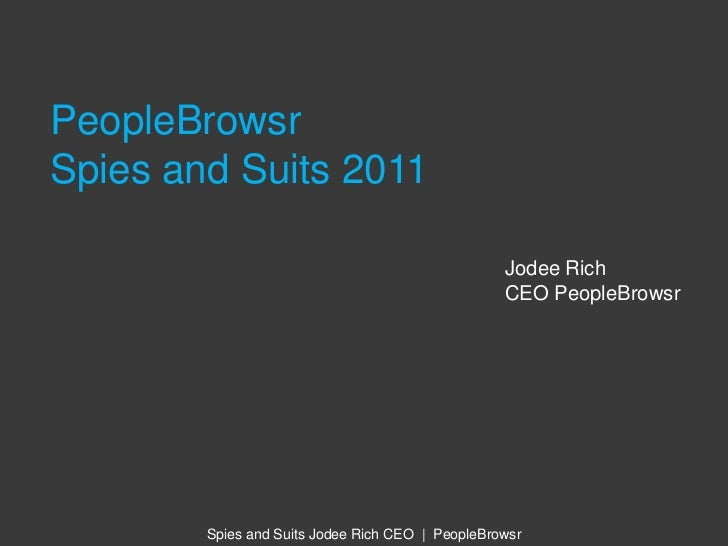 PeopleBrowsr Spies and Suits 2011<br />Jodee Rich<br />CEO PeopleBrowsr<br />