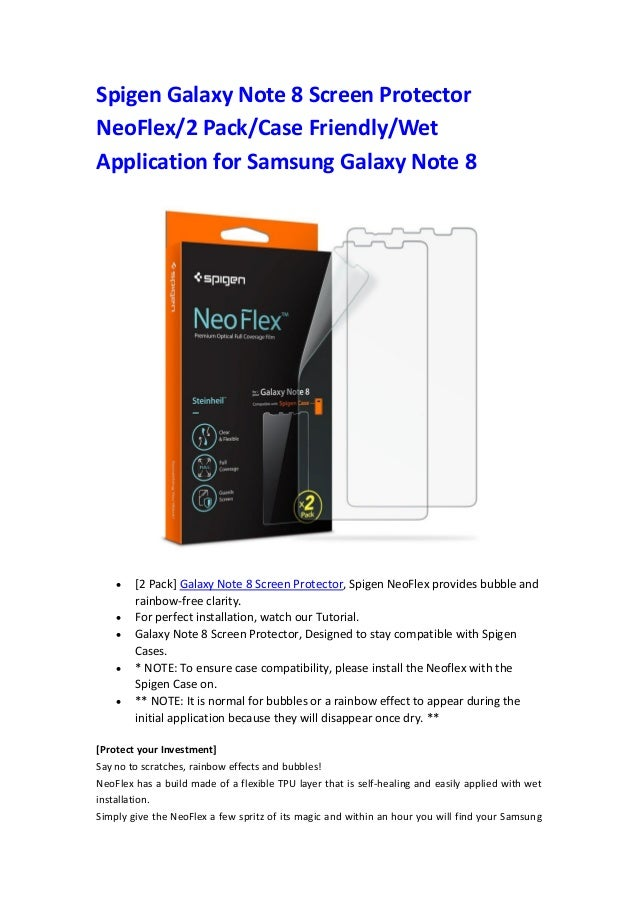 promo code 418b0 2943e Spigen galaxy note 8 screen protector neo flex