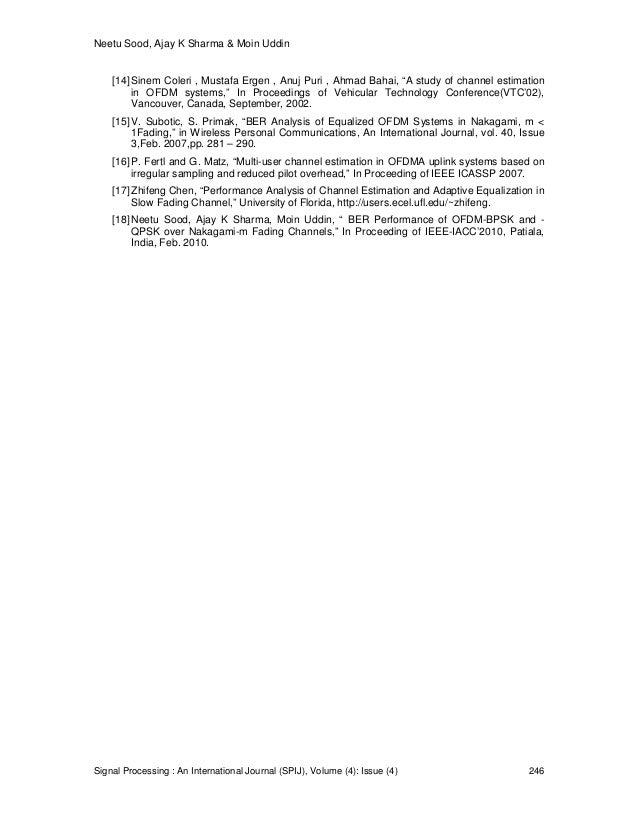 Neetu Sood, Ajay K Sharma & Moin Uddin Signal Processing : An International Journal (SPIJ), Volume (4): Issue (4) 246 [14]...