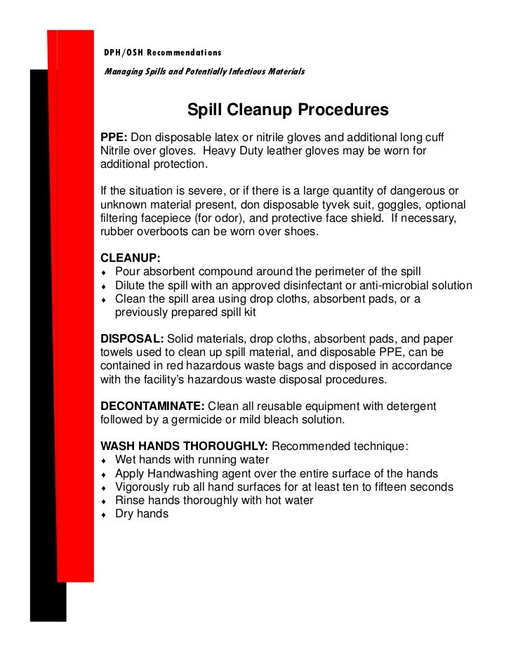 DPH/OSH RecommendationsManaging Spills and Potentially Infectious Materials                     Spill Cleanup ProceduresPP...